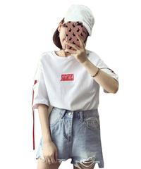 韓国ファッション Tシャツ ゆったり レディース 原宿 プリントシャツ リボン