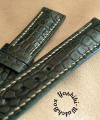 クロコダイル レザー 腕時計ベルト グリーン (ラグ幅20mm - バックル幅18mm) cro-468