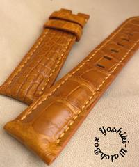 クロコダイル レザー 腕時計ベルト オレンジ (ラグ幅22mm - バックル幅20mm) cro-488