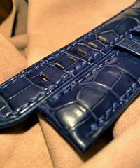 クロコダイル レザー 腕時計ベルト  ブルー 22mm-20mm CRO-235