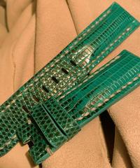 リザード レザー 腕時計ベルト グリーン 22mm-20mm  LIZ-36