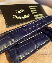 クロコダイル レザー 腕時計ベルト ブルー 20mm-18mm CRO-195