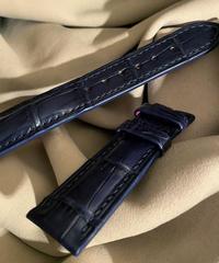 クロコダイル レザー 腕時計ベルト ブルー 20mm-18mm CRO-260