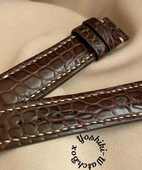 cro-553 クロコダイル レザー 腕時計ベルト ダークブラウン (ラグ幅20mm - バックル幅18mm)