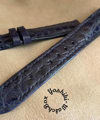 クロコダイル レザー 腕時計ベルト ネイビー (ラグ幅18mm - バックル幅16mm) cro-473
