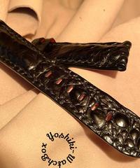 クロコダイル 腕時計ベルト ブラック 22mm-20mm CRO-311