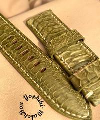 チキン レザー 腕時計ベルト グリーン 22mm-20mm  CHI-15
