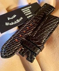クロコダイル レザー 腕時計ベルト ブラック 22mm-20mm CRO-153