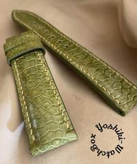 チキン レザー 腕時計ベルト グリーン (ラグ幅20mm - バックル幅18mm) chi-34