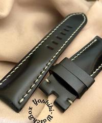 コードバン レザー 腕時計ベルト ブラック (ラグ幅24mm - バックル幅22mm) cod-28