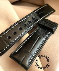クロコダイルレザー 腕時計ベルト ブラック (ラグ幅20mm - バックル幅18mm) cro-340