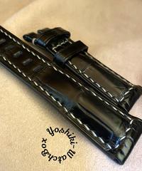クロコダイルレザー 腕時計ベルト ブラック (ラグ幅22mm - バックル幅20mm) cro-356