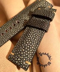 スティングレイ レザー 腕時計ベルト グレー 24mm-22mm  STI-1