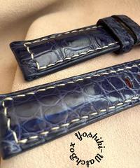 クロコダイル レザー 腕時計ベルト ブルー (ラグ幅22mm - バックル幅20mm) cro-384