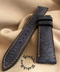 チキン レザー 腕時計ベルト ブラック (ラグ幅20mm - バックル幅18mm) chi-20