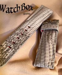 リザード レザー 腕時計ベルト ホワイト 22mm-20mm  LIZ-34