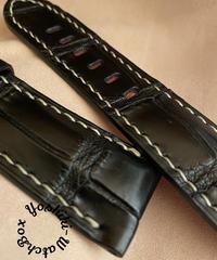 クロコダイル レザー 腕時計ベルト ブラック (ラグ幅26mm - バックル幅22mm) cro-502