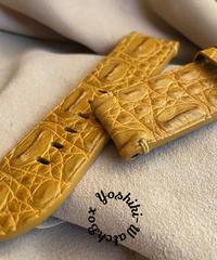 クロコダイル レザー 腕時計ベルト タンブラウン (ラグ幅26mm - バックル幅26mm) cro-445