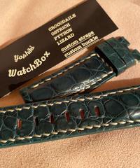 クロコダイル レザー 腕時計ベルト グリーン 22mm-20mm CRO-179