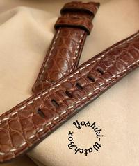 クロコダイルレザー 腕時計ベルト ライトブラウン (ラグ幅22mm - バックル幅20mm) cro-333