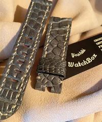 クロコダイル レザー 腕時計ベルト グレー 22mm-20mm CRO-175