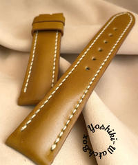 cod-66コードバン レザー 腕時計ベルト イエローブラウン (ラグ幅20mm - バックル幅18mm)