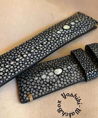 スティングレイ レザー 腕時計ベルト ブラック (ラグ幅26mm - バックル幅22mm)  sti-12