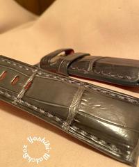 クロコダイル レザー 腕時計ベルト グレー 26mm-22mm CRO-262
