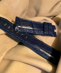 クロコダイル レザー 腕時計ベルト ブルー 24mm-22mm CRO-246