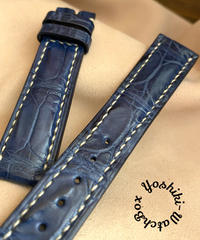 cro-546 クロコダイル レザー 腕時計ベルト ブルー (ラグ幅18mm - バックル幅16mm)