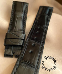 cro-523 クロコダイル レザー 腕時計ベルト ブラック (ラグ幅21mm - バックル幅18mm)