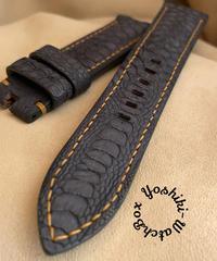 チキン レザー 腕時計ベルト ブラック (ラグ幅22mm - バックル幅20mm) chi-25