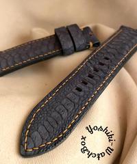 チキン レザー 腕時計ベルト ブラック (ラグ幅24mm - バックル幅22mm) chi-21