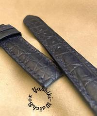 cro-606 クロコダイル レザー 腕時計 ベルト ネイビー (ラグ幅20mm - バックル幅18mm)