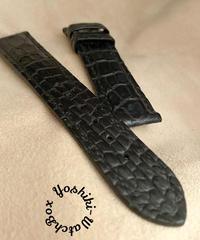 クロコダイル レザー 腕時計ベルト ブラック (ラグ幅20mm - バックル幅18mm) cro-366