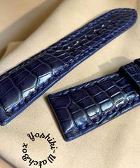 クロコダイル 腕時計ベルト ブルー 26mm-22mm CRO-317