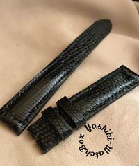 リザード レザー 腕時計ベルト ブラック (ラグ幅18mm - バックル幅16mm) liz-74