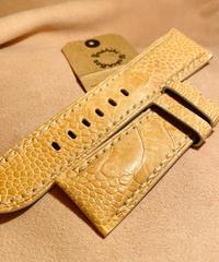 オーストリッチ レザー 腕時計ベルト ライトベージュ 26mm-22mm OST-37