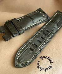 クロコダイル レザー 腕時計ベルト グレー (ラグ幅26mm - バックル幅22mm) cro-423