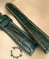 クロコダイル レザー 腕時計ベルト グリーン (ラグ幅20mm - バックル幅18mm) cro-499
