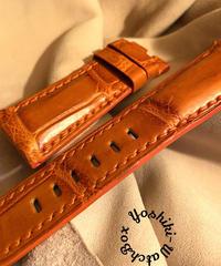 クロコダイル レザー 腕時計ベルト オレンジ 26mm-22mm CRO-272