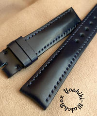 コードバン レザー 腕時計ベルト ブルー (ラグ幅18mm - バックル幅16mm) cod-09