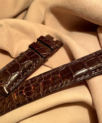 クロコダイル レザー 腕時計ベルト ダークブラウン 22mm-20mm CRO-244
