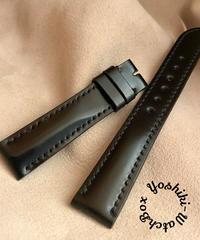 コードバン レザー 腕時計ベルト ブラック (ラグ幅18mm - バックル幅16mm) cod-12