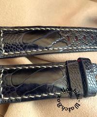 オーストリッチレザー 腕時計ベルト ネイビー (ラグ幅24mm - バックル幅22mm) ost-87