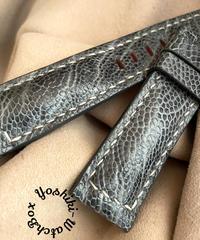 オーストリッチレザー 腕時計ベルト グレー (ラグ幅22mm - バックル幅20mm) ost-81