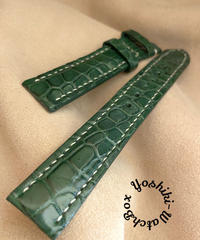 cro-591 クロコダイル レザー 腕時計 ベルト グリーン (ラグ幅18mm - バックル幅16mm)