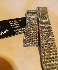 リザード レザー 腕時計ベルト グレー 18mm-16mm LIZ-27