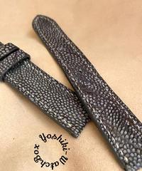 ost-142 オーストリッチレザー 腕時計ベルト  グレー/ネイビー (ラグ幅20mm - バックル幅18mm)
