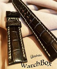 クロコダイル レザー 腕時計ベルト ブラック 18mm-16mm CRO-211